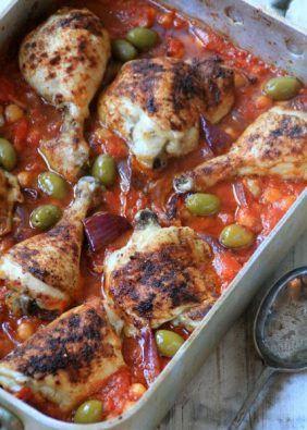 Spansk kylling med kikerter og oliven