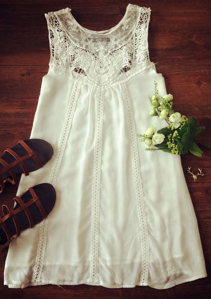 Sweet A-Line White Tank Dress - OASAP.com