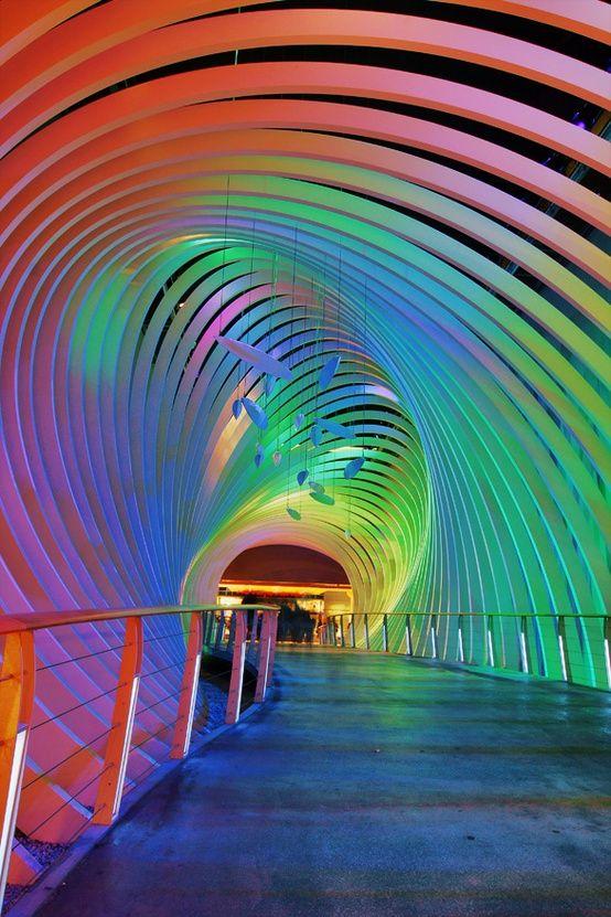 rainbow covering over a bridge