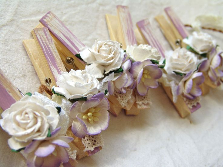 Shabby Chic clothespin Lavender decorative clothespins decorated clothes pegs set of 6 pins. $13.50, via Etsy.