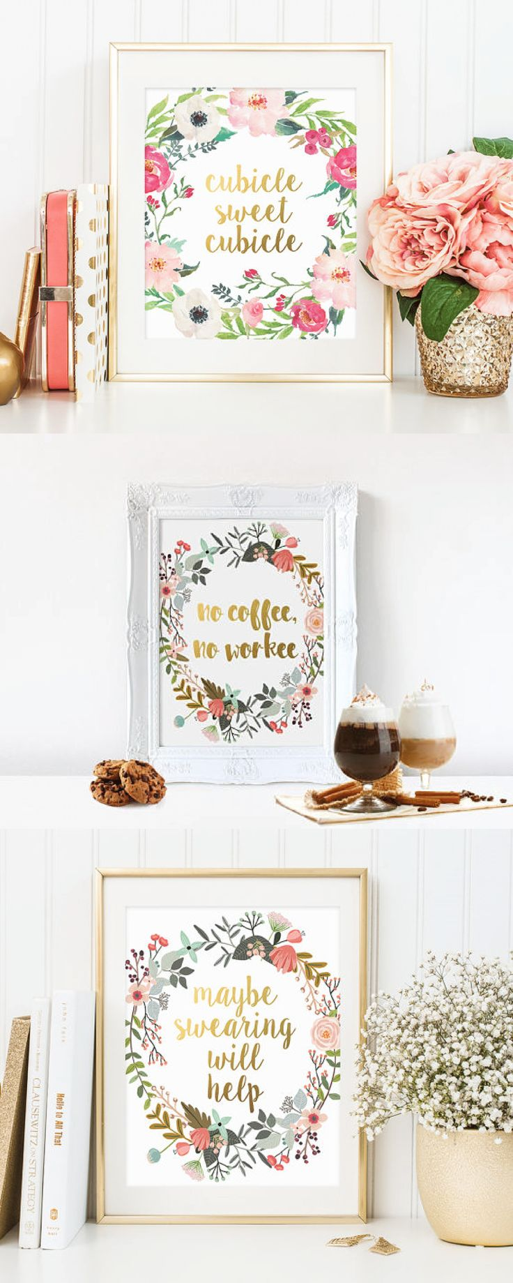 Design Cubicle Wall Decor best 25 office cubicle decorations ideas on pinterest print no coffee workee gold floral art quote decor watercolor work motivation gifts