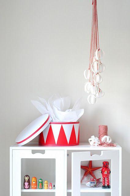 Red and white paper mache box