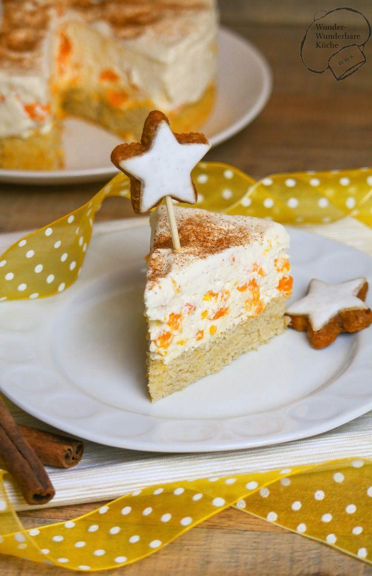 Wonder Wunderbare Küche: Kleine Kuchen: Mascarpone-Zimtstern-Torte mit Mandarinen