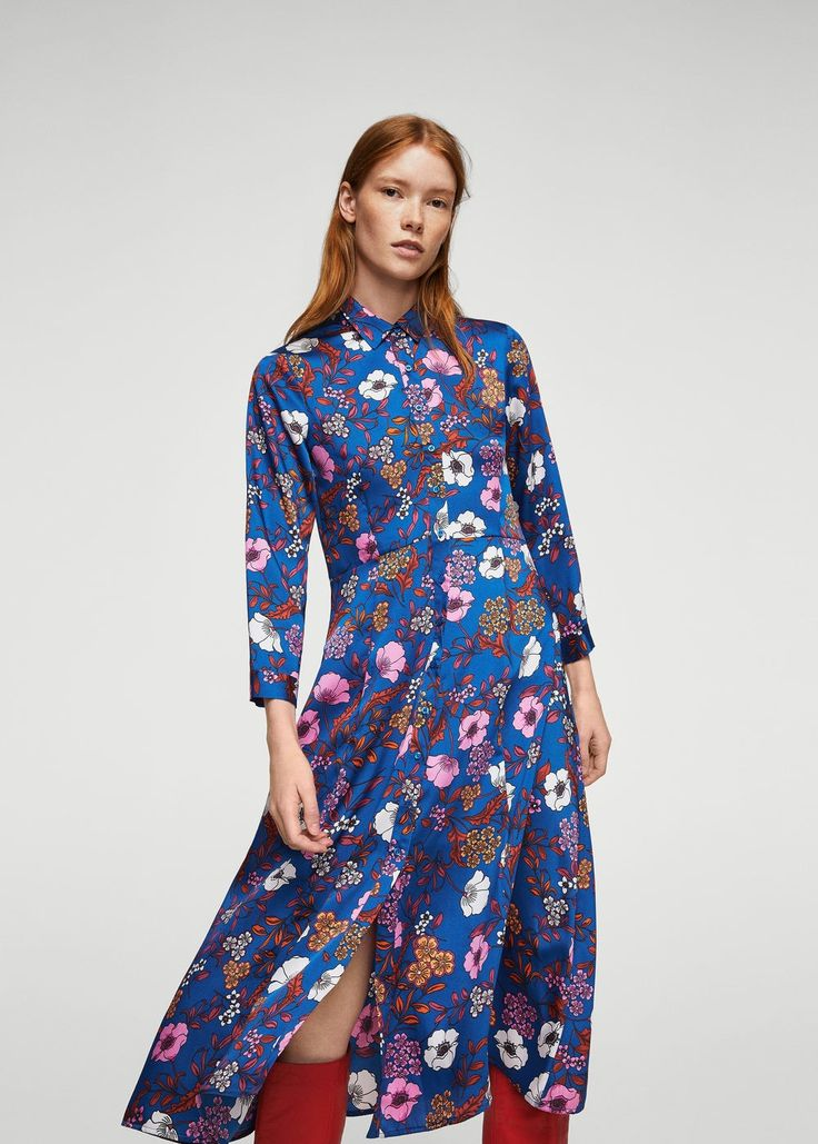 Floral shirt dress - Women | MANGO USA
