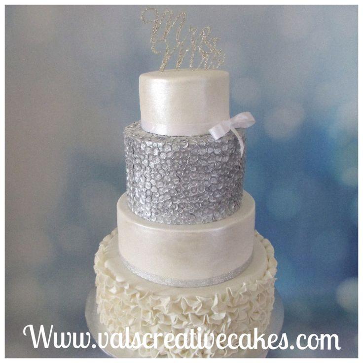 Silver sequin & ruffle wedding cake