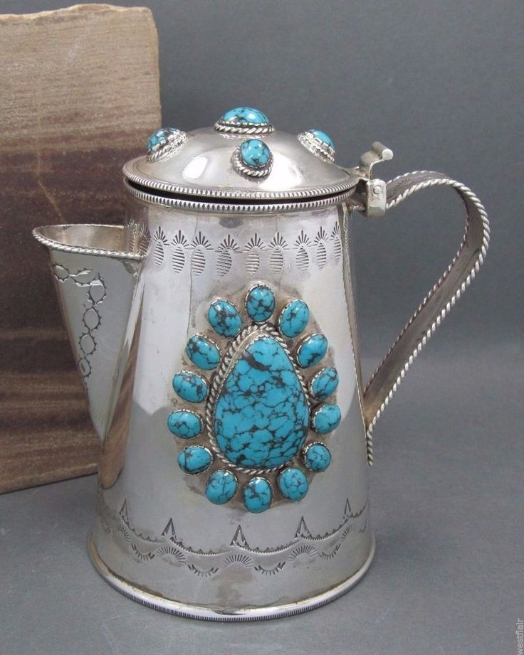 JERRY BEGAY JB PITCHER STERLING SILVER TURQUOISE NAVAJO STAMPED COLLECTIBLE