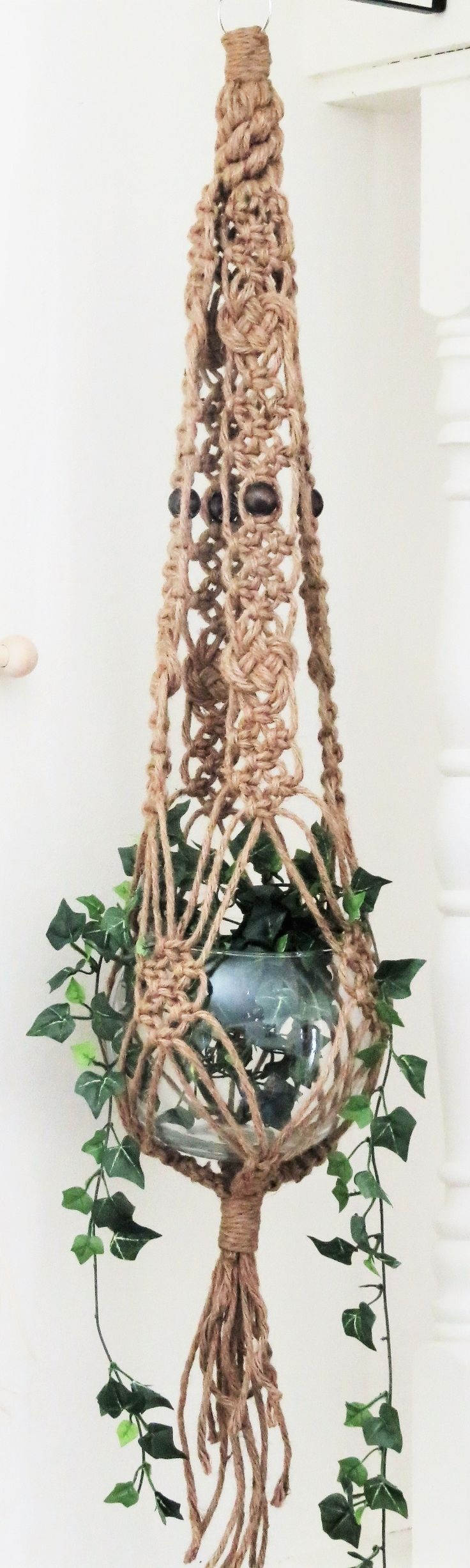 "Jute macrame plant hanger, 45"", hanging planter, pot holder, pot hanger, hanging…"