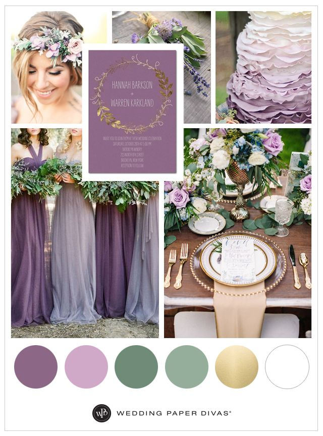 Branch Crown - Shimmer Wedding Invitations / Purple wedding color ideas #ad