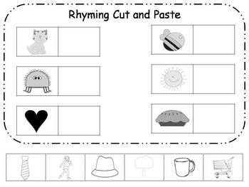rhyming cut and paste printable freebie rhyming rhyming worksheet rhyming kindergarten. Black Bedroom Furniture Sets. Home Design Ideas