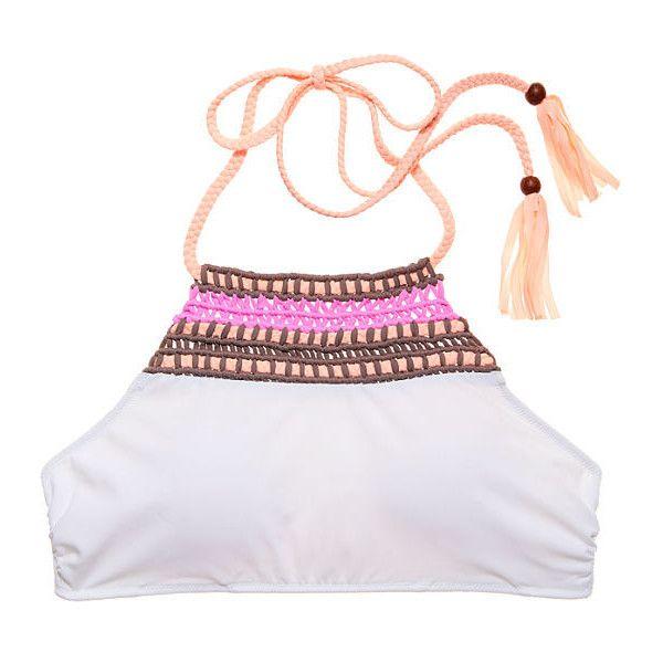 Victoria's Secret Macramé High-neck Halter featuring polyvore women's fashion clothing swimwear bikinis tassel bikini boho bikini halter bikini halter top high neck halter bikini