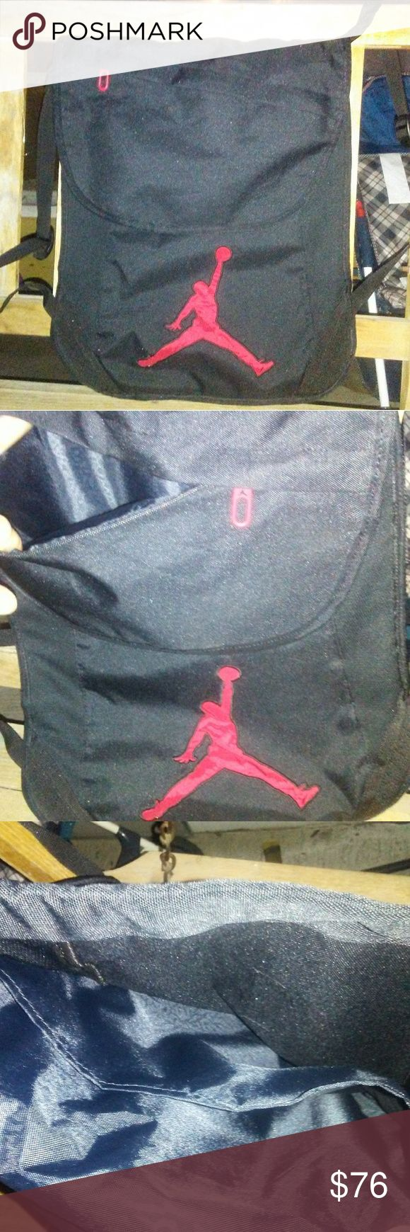 Jordan Brand Black & Red- NWOT backpack This is onw cool and stylish backpack.. Not to mention its high level of quality... And the fact that its Jordan Brand! Yes that Jordan... Like the sneakers! Black and red color scheme and very utilitarian while loght and convenient at the same time. There are several little pockets and sections throughout the shell of this bag. The straps are thin and unirritable to the skin or body. Used for one day of college and I couldnt use ir anymore because it…