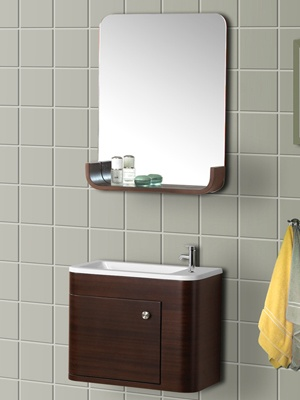 Bath Authority DreamLine Wall Mounted Modern Bathroom Vanity With Porcelain  Sink And Mirror Complete Bath Vanity Set   Walnut