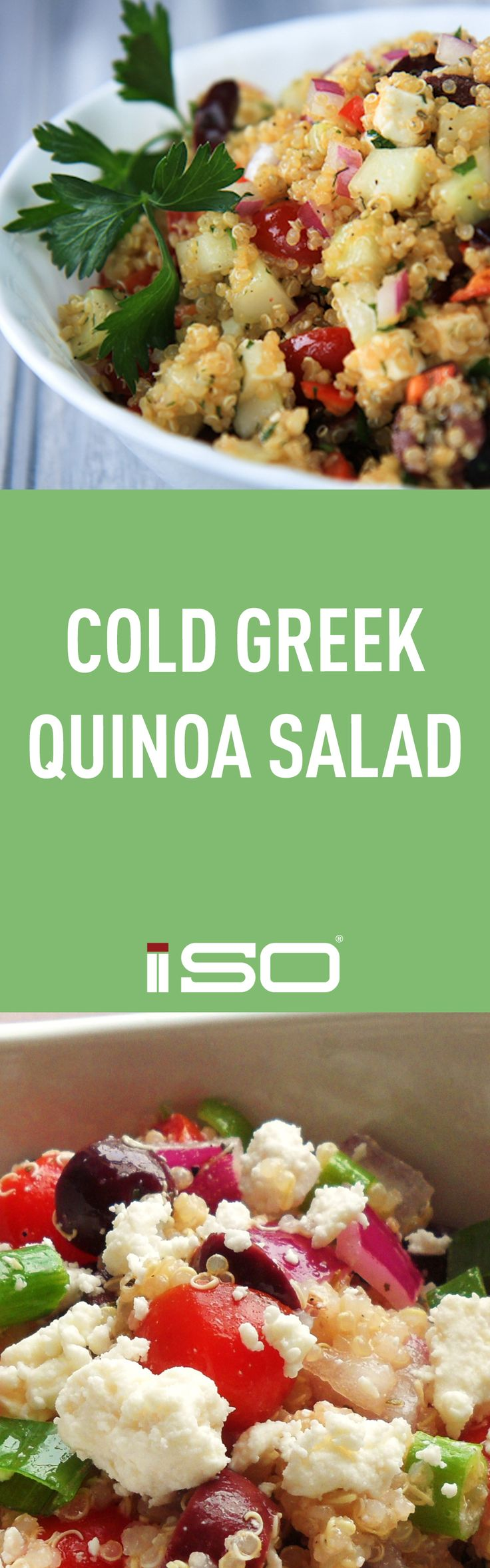Healthy lunch recipe. Greek Quinoa Salad.