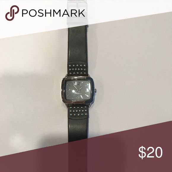 Nine West women's grey watch Leather grey watch with silver studs -Needs battery Accessories Watches