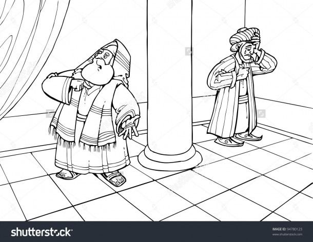 The Pharisee And The Tax Collector Coloring Pages Bible Coloring Pages Bible Coloring Coloring Pages