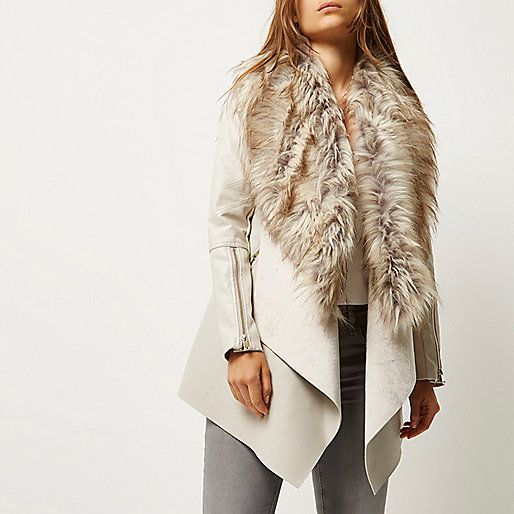 Cream faux fur fallaway jacket - coats - coats / jackets - women