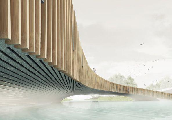 Für Fledermäuse und Fußgänger  - Pläne von NEXT Architects in Südholland. Drei Bereiche innerhalb der Brückenkonstruktion sind als Unterschlupf für verschiedene Fledermausarten gedacht: Die Nordseite wird zum Winteraufenthalt, während Deck und Brüstung als Aufenthalt während der Sommermonate dienen. Der Beton soll den Fledermäusen ein stabiles und angenehmes Klima bieten