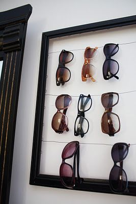 Sunglasses Organization DIY - I've got to try this myself wit all my accessories...looks cool and saves room too!