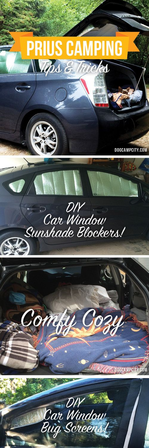 Learn how to use your Toyota Prius for camping! Learn how to make car window sunshades to block out your windows and how to make car window bug screens, and more!