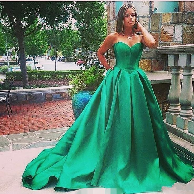 >> Click to Buy << Sweetheart Ball Gown Prom Dresses Long Cheap 2016 Green Satin Formal Evening Party Gowns Turkish Dress robe de soiree longue #Affiliate