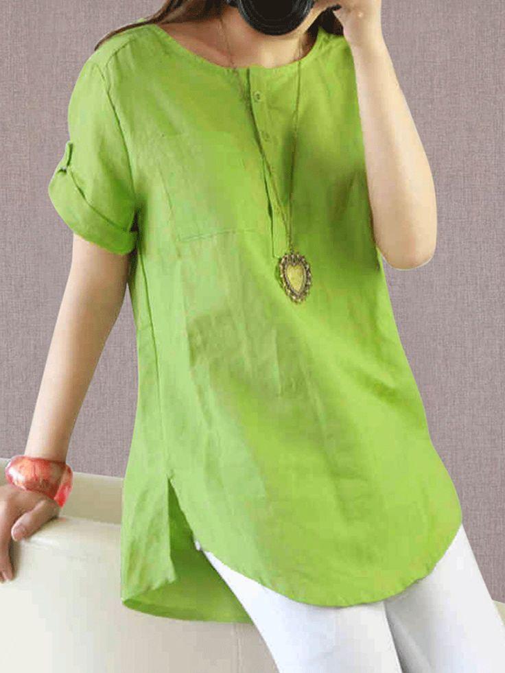 Summer Cotton/Linen Women Round Neck Patch Pocket Plain Short Sleeve blouses for…