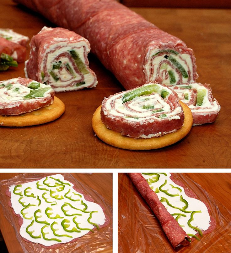 Rollitos de queso y salami. I'm going to try this with smoked turkey breast and jalapeno peppers and fat free cream cheese