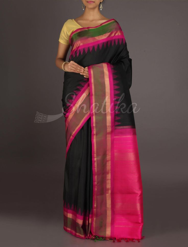 Rajitha Plain Bold Black Temple Border #ArniSilkSaree