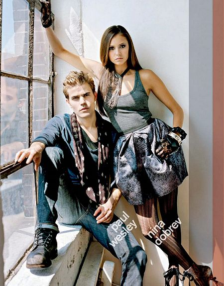 Paul Wesley and Nina Dobrev, Nylon (Sept 2011). I love both their outfits! Honestly, you could even make Paul's outfit feminine with a fitted navy long-sleeve shirt, boyfriend jean, plaid scarf-boot combo and a couple of strategic accessories.