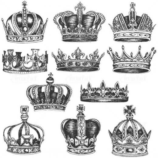 Grey Ink Queen Crown Tattoo Designs
