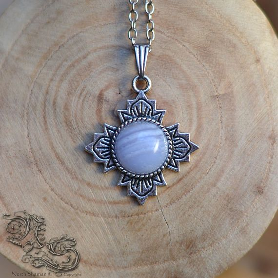 Necklace Sanctuary - Blue Chalcedony - medieval celtic viking pagan fantasy elven silver cross blue stone gemstone - North Shaman