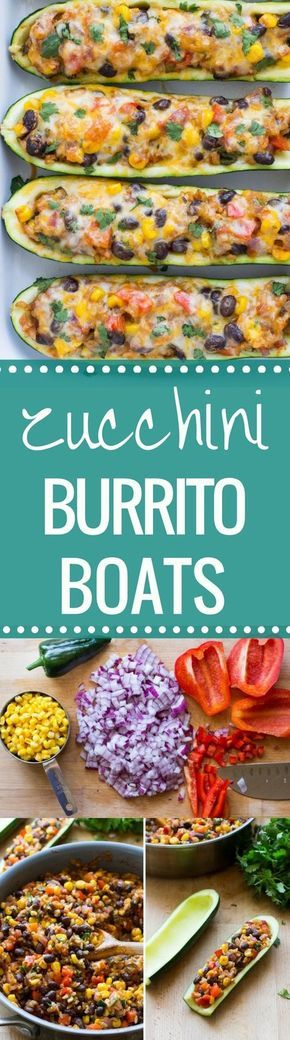 Mexican Zucchini Burrito Boats- a simple meatless meal packed with Mexican flavor! (vegetarian + gluten-free)