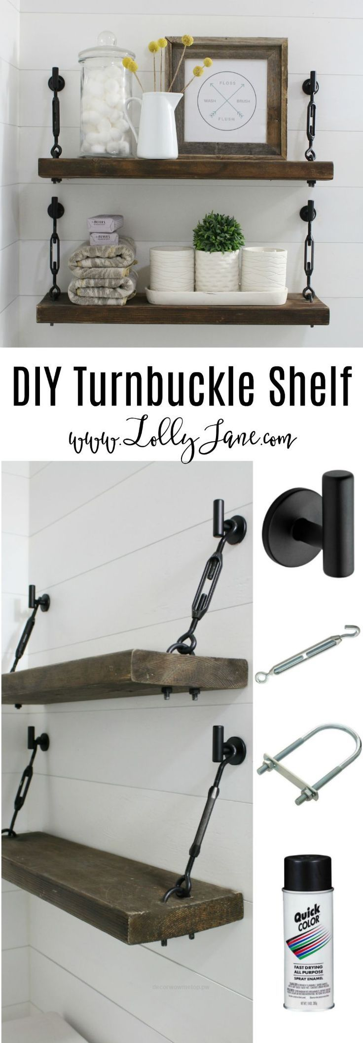 Great DIY Turnbuckle Shelf tutorial   Learn how easy it is to make these bathroom turnbuckle shelves! These would be so cute in any room of the house, farmhouse chic shelves look great and are sturdy enough for all your home decor needs!  The post  DIY Turnbuckle Shelf t ..
