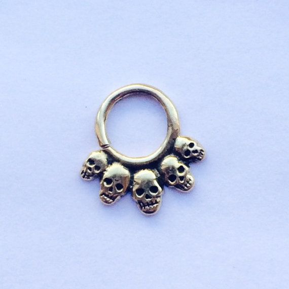 Hey, I found this really awesome Etsy listing at https://www.etsy.com/listing/229359480/grave-digger-septum-ring-golden-brass