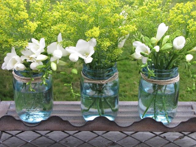 DYI blue mason jars