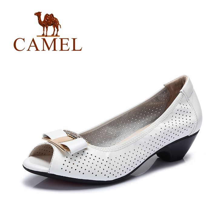 84.00$  Buy now - http://ali5mi.worldwells.pw/go.php?t=32661715070 - Camel shoes women 2016 fashion commuter leather bow fish head shoes single shoes 2016 New ladies shoes 84.00$