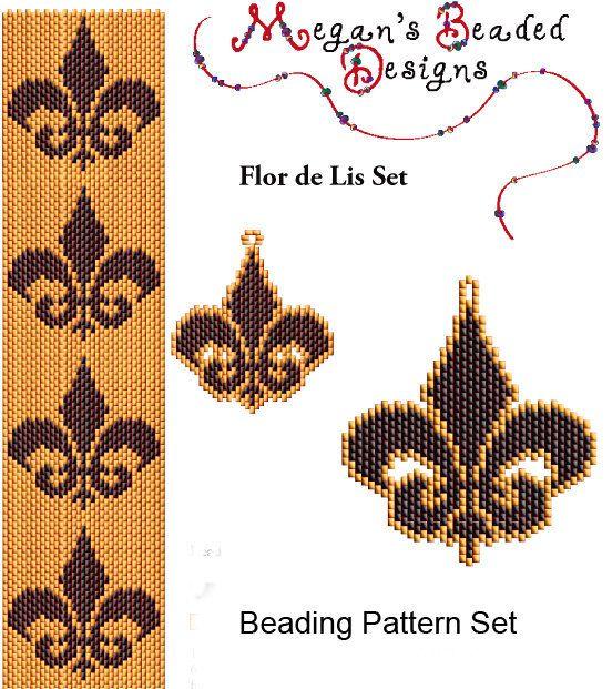 Flor de Lis Beading Pattern Set - Peyote or Brick Bracelet Earrings and Pendant on Etsy, $4.95