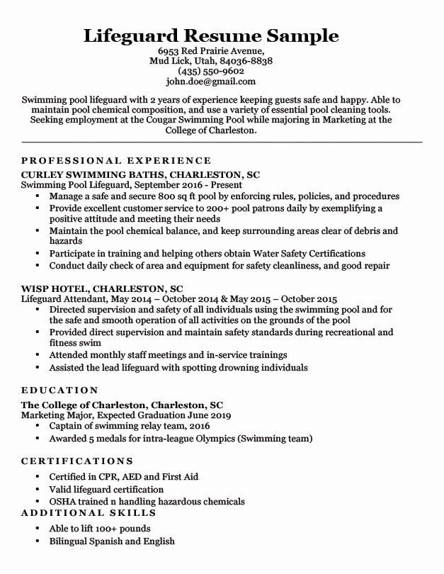 Firefighter Job Description Resume Awesome Lifeguard Resume Sample Writing Tips In 2020 Job Resume Examples Teacher Resume Examples Writing Tips