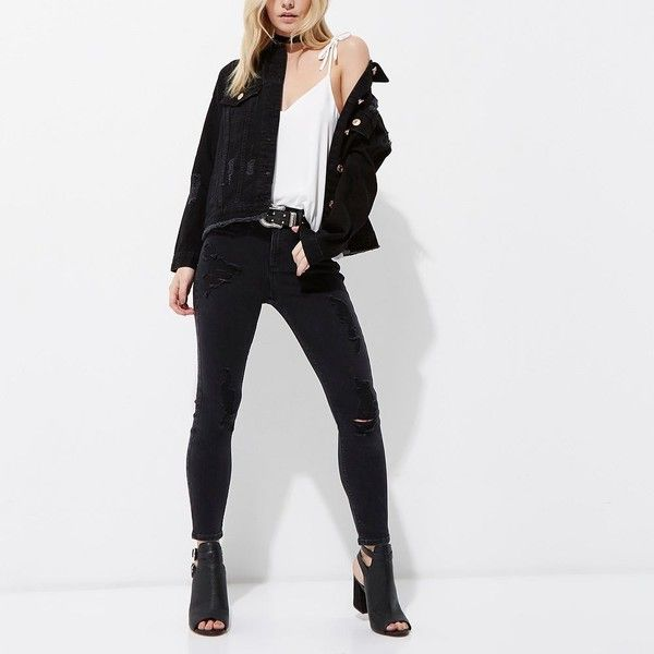 River Island Petite black distressed denim jacket (1,675 MXN) ❤ liked on Polyvore featuring outerwear, jackets, distressed jacket, river island, river island jackets, tall jackets and petite jackets