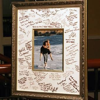 Non-Traditional Framed Poster Guestbook - Real Wedding