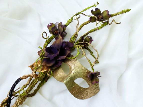 Woodland gold magic poison ivy couture Mask OAAK mask by LumilinA