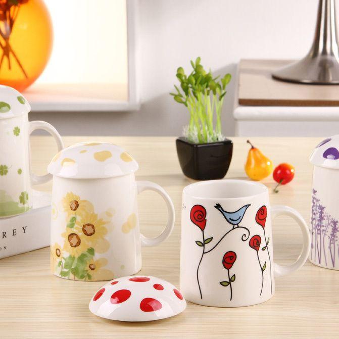 Новое поступление ZAKA грибовидных керамическая завтрак кружка с крышкой бюро кофейные чашки воды детских команд подарки украшения дома