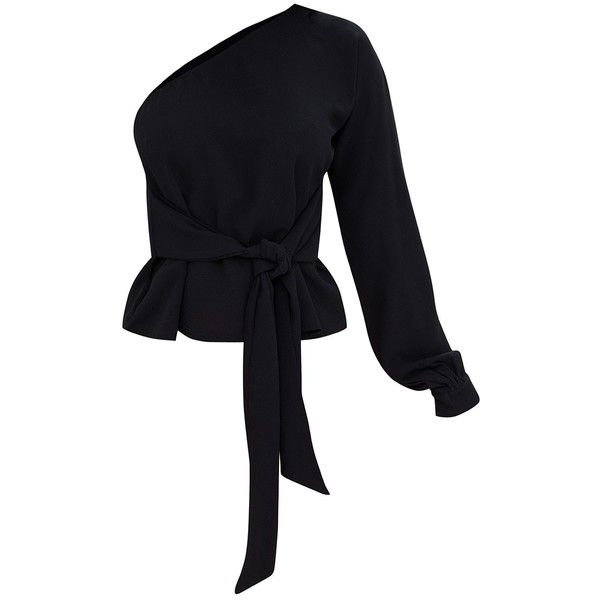 Shape Black One Shoulder Top ($32) ❤ liked on Polyvore featuring tops, one shoulder tops, one sleeve top and off one shoulder tops