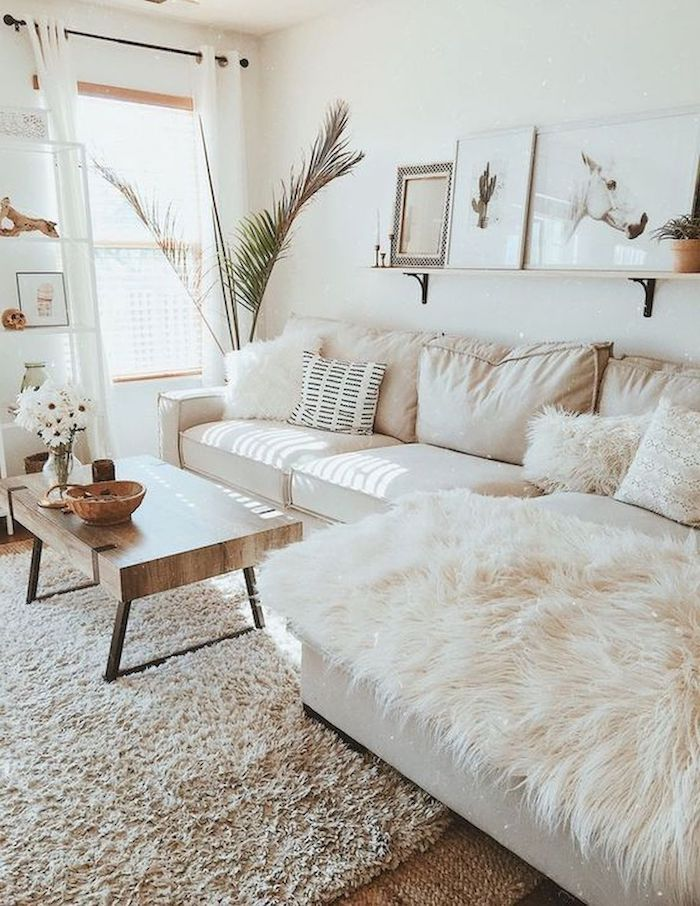 White Walls Couch Cushions Blanket Small Wooden Coffee Table Hanging Shelf Big Plant White Carpet Livi In 2020 Living Room Grey Farm House Living Room Home Living Room