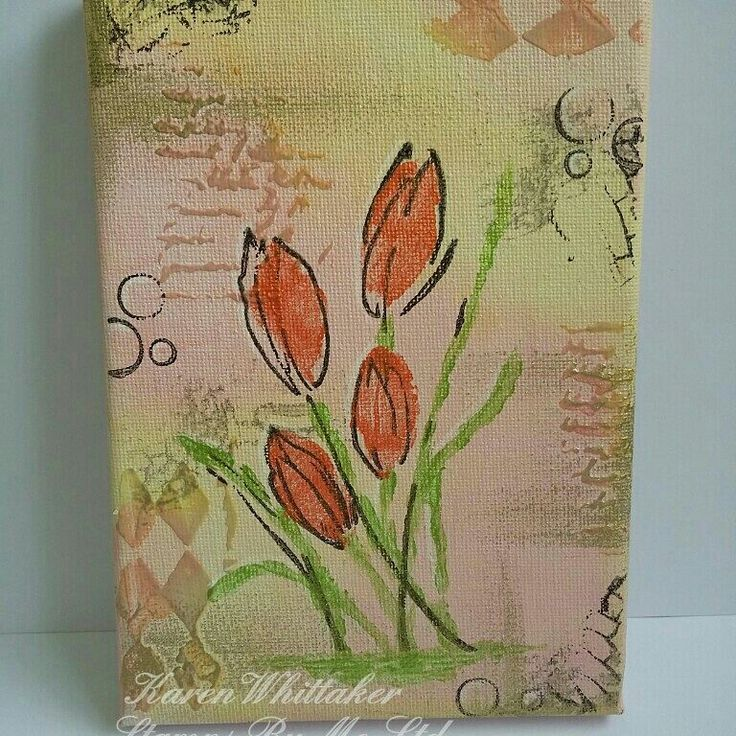 Canvas using True Friends stamp set by Stamps By Me #stampsbyme #truefriends #canvas #distressinks #acrylicpaints #gildingwax #flowers #creative #messy #inky