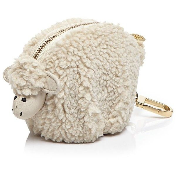 Tory Burch Larry Lamb Pouch Key Fob (430 SAR) ❤ liked on Polyvore featuring accessories, natural, tory burch, keychain key ring, tory burch key chain, tory burch key ring and key chain rings
