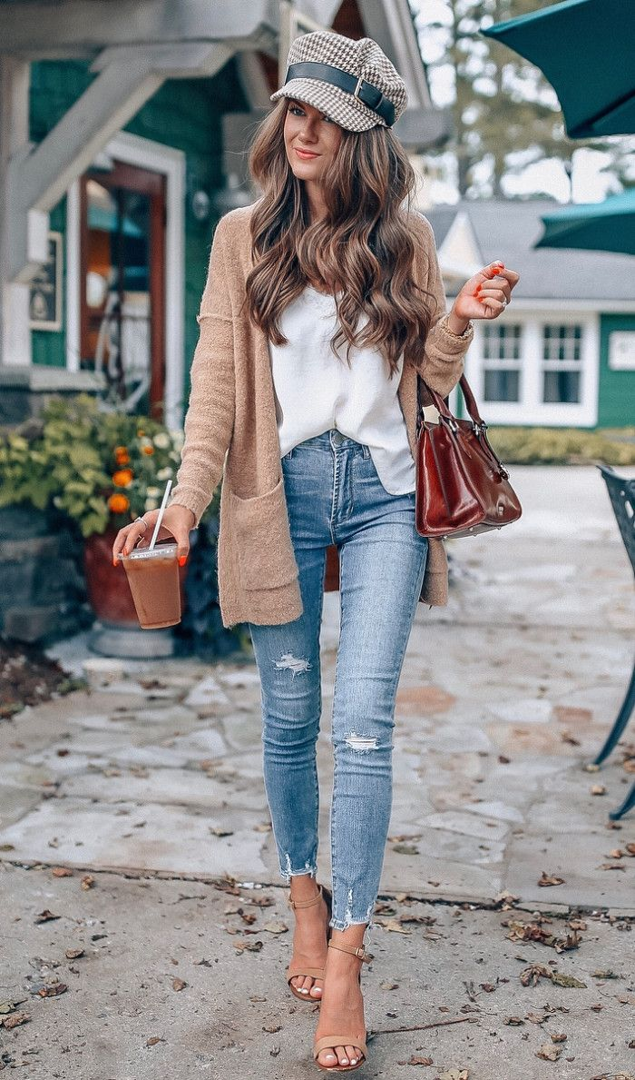 cute fall outfit idea  hat white top cardigan bag rips heels ...