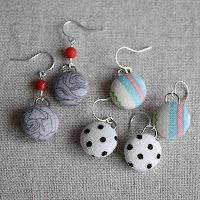 Fabric-Covered Button Earring Tutorial