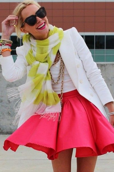 Likes | Tumblr - coral pink full skirt and white top all with a splash of lime (my cardi?)