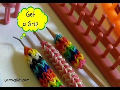 LOOM KNIT A GRIP: How to Make a Grip for Your Hook - Pencil on any Loom - EASY - YouTube