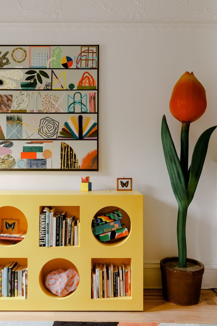 """I feel like everything in this house kind of looks like a cartoon,"" she says."" –Ellen Dusen on home decor From Architecture Digest: ""If you're familiar with Dusen Dusen, her pattern-forward line of clothing and. Brooklyn Brownstone, Home Interior, Interior And Exterior, Interior Decorating, Modern Exterior, Picture Frame Molding, Paint Stripes, Weird Shapes, Cheap Home Decor"